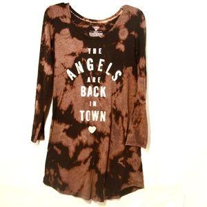 VICTORIAS SECRET Black Acid Wash Long Night Shirt